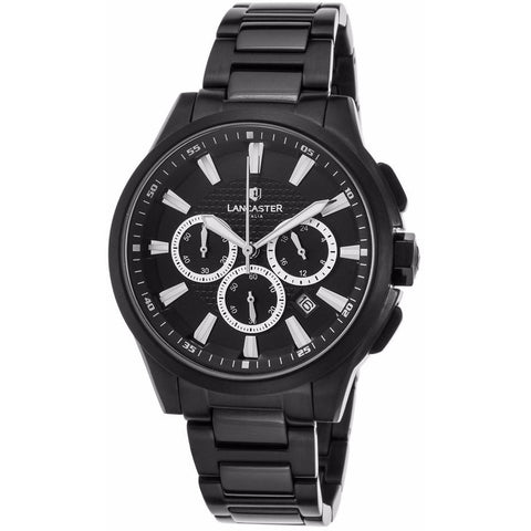 Lancaster Italy Unisex Apollo Chrono Black Ion Plated Ss And Dial Black Ion Plated Ss Watch - LANCASTER-OLA0667C-MB-BK-NR - Realforlesscorp