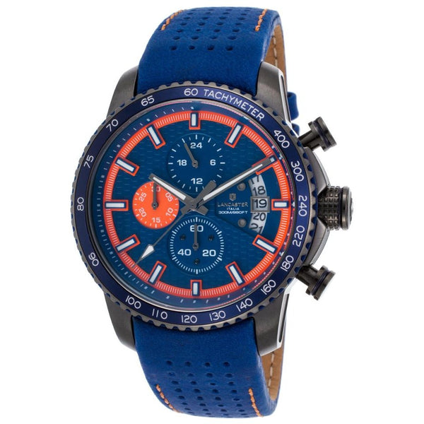 Lancaster Italy Men's Freedom Chronograph Blue Genuine Leather Blue Dial Watch - LANCASTER-OLA1064L-GR-BL-BL - Realforlesscorp