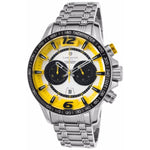 Lancaster Italy Men's Hurricane Chronograph Ss Silver-Tone Dial Yellow Accents Watch - LANCASTER-OLA1063MB-SS-GL - Realforlesscorp