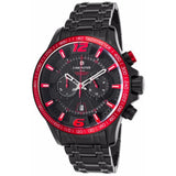 Lancaster Italy Men's Hurricane Chronograph Black Ip Ss Black Dial Red Accents Watch - LANCASTER-OLA1063MB-BK-RS-NR - Realforlesscorp