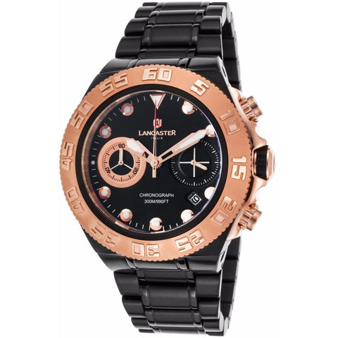 Lancaster Italy Men's Blue Ridge Chronograph Black Ip Ss Black Dial Rose-Tone Accents Watch - LANCASTER-OLA1061MB-BKRG-NR - Realforlesscorp