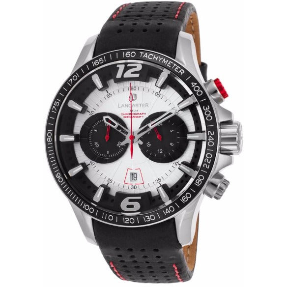 Lancaster Italy Men's Hurricane Chronograph Black Genuine Leather Silver-Tone Dial Watch - LANCASTER-OLA1063L-SS-BN-NR - Realforlesscorp