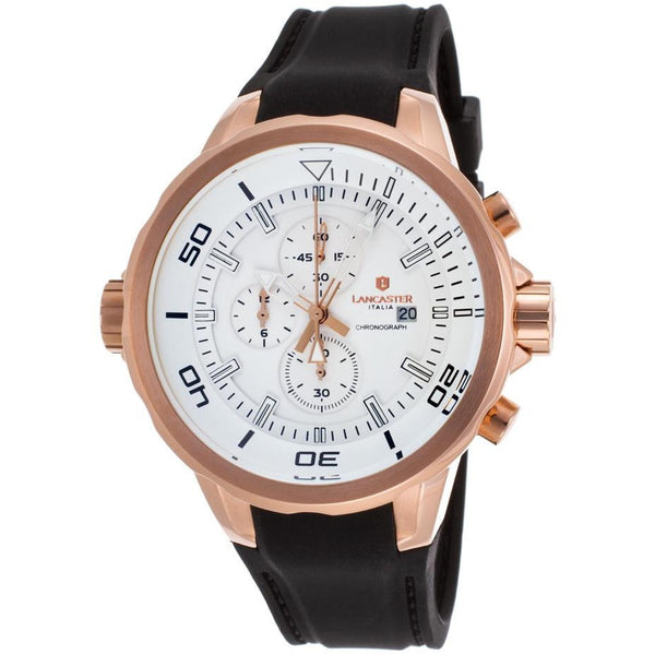 Lancaster Italy Men's Space Shuttle Chronograph Black Silicone White Dial Rose-Tone Ss Watch - LANCASTER-OLA1065L-RG-BN-NR - Realforlesscorp