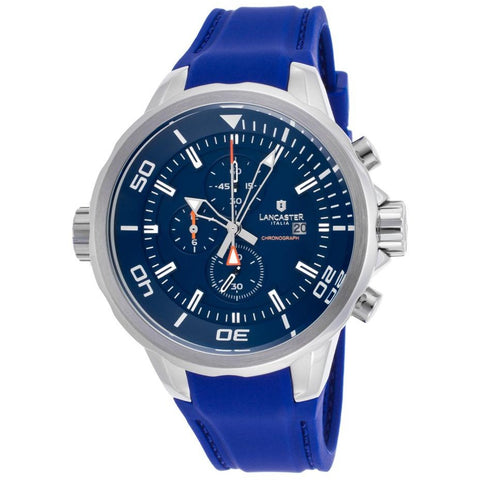 Lancaster Italy Men's Space Shuttle Chronograph Blue Silicone And Dial Watch - LANCASTER-OLA1065L-SS-BL-BL - Realforlesscorp