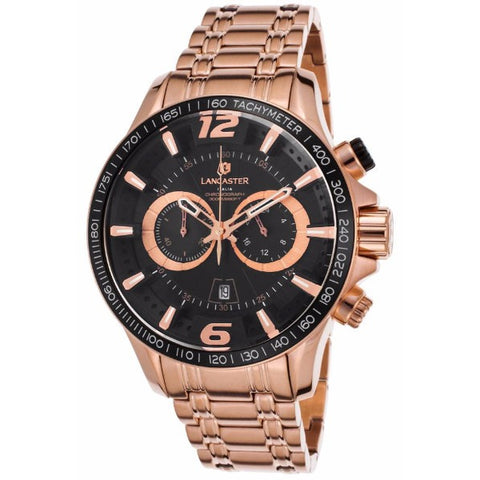 Lancaster Italy Men's Hurricane Chronograph Rose-Tone Stainless Steel Black Dial Watch - LANCASTER-OLA1063MB-RG-NR - Realforlesscorp