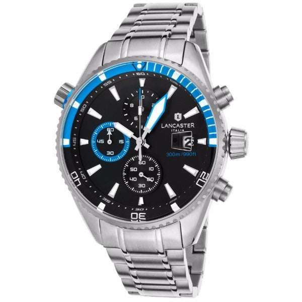 Lancaster Italy Men's Cheyenne Chronograph Stainless Steel Black Dial Blue Accents Watch - LANCASTER-OLA1066MB-SS-NR-BL - Realforlesscorp