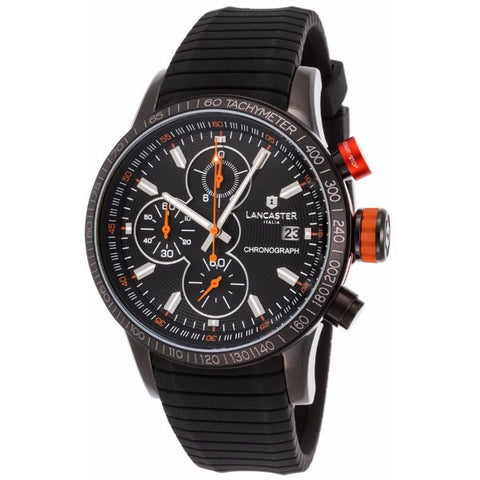 Lancaster Italy Men's Admiral Chronograph Black Silicone Black Dial Watch - LANCASTER-OLA1067S-BK-NR-AR-NR - Realforlesscorp