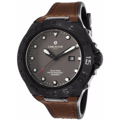 Lancaster Italy Men's Blue Ridge Brown And Black Rubber Grey Dial Black Ip Ss Watch - LANCASTER-OLA1062L-BK-NR-MR - Realforlesscorp