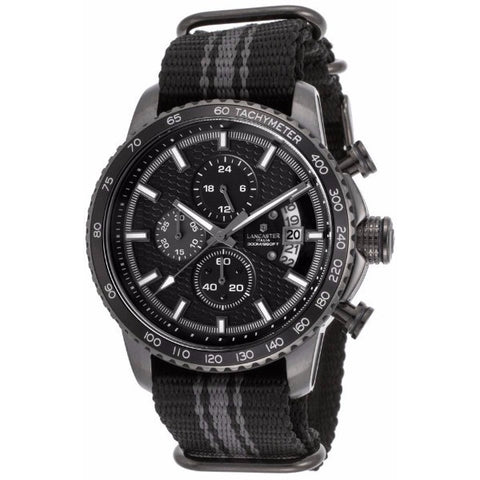 Lancaster Italy Men's Freedom Chronograph Black & Grey Nylon Black Dial Gunmetal Ip Ss Watch - LANCASTER-OLA1064T-GR-GR-GR - Realforlesscorp