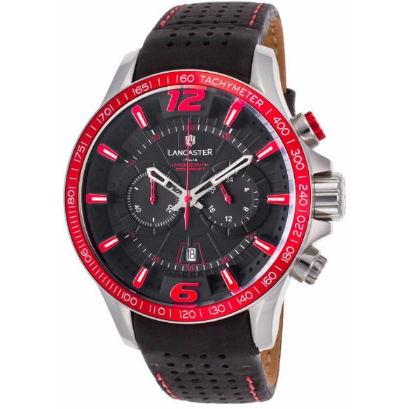 Lancaster Italy Men's Hurricane Chronograph Black Genuine Leather And Dial Red Accents Watch - LANCASTER-OLA1063L-SS-NR-NR - Realforlesscorp