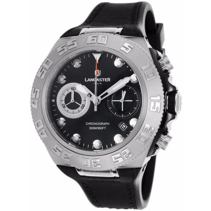 Lancaster Italy Men's Blue Ridge Chronograph Black Silicone And Dial Ss Watch - LANCASTER-OLA1061L-SS-NR-NR - Realforlesscorp
