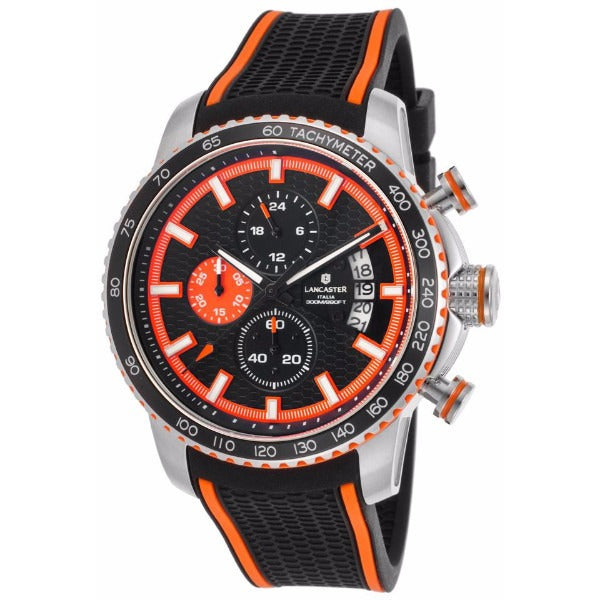 Lancaster Italy Men's Freedom Chronograph Black Silicone And Dial Orange Accents Watch - LANCASTER-OLA1064S-SS-NR-AR-NR - Realforlesscorp