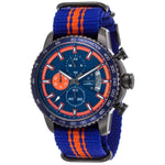 Lancaster Italy Men's Freedom Chronograph Blue & Orange Nylon Blue Dial Gunmetal Ip Ss Watch - LANCASTER-OLA1064T-GR-BL-BL - Realforlesscorp