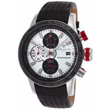 Lancaster Italy -Men's Admiral-Chrono Black/ Silver-Tone Dial Red Accent Watch - LANCASTER-OLA1067 Invicta Style - Realforlesscorp