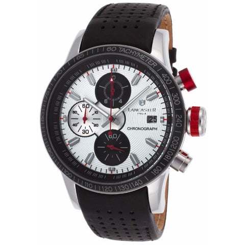Lancaster Italy Men's Admiral Chrono Black Genuine Leather Silver-Tone Dial Red Accent Watch - LANCASTER-OLA1067L-SS-BN-RS - Realforlesscorp