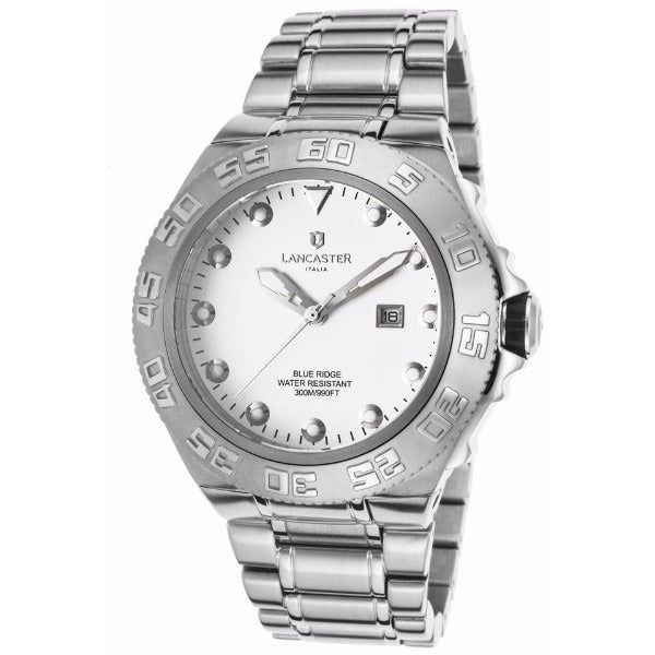Lancaster Italy Men's Blue Ridge Stainless Steel White Dial Watch - LANCASTER-OLA1062MB-SS-BN - Realforlesscorp