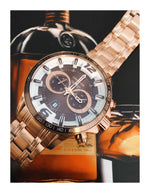 Lancaster Italy Men's Hurricane Chronograph Rose-Tone Stainless Steel Brown Dial Watch - LANCASTER-OLA1063MB-RG-MR - Realforlesscorp
