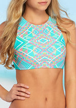 Coco Rave All Tied Up Lace Up Hi-Neck Bikini Swim Top - Realforlesscorp