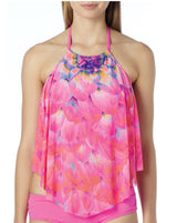 Coco Reef Silent Bloom Summer Pink Mesh Tankini Top Swimsuit - Realforlesscorp