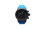 Lancaster Italy Men's Admiral Chronograph Blue Silicone Black Dial - LANCASTER-OLA1067S-BK-NR-BL - Realforlesscorp