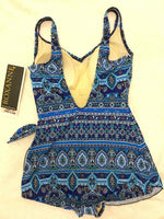 Roxanne V-Neck Sarong Bra Sized One Piece Swimsuit - NAVY - Realforlesscorp