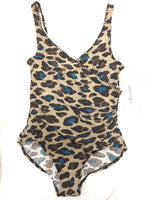 ROXANNE COLLECTION SHIRRED ANIMAL PRINT V-NECK - Realforlesscorp