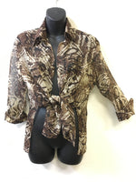 CARMEN MARC VALVO- Animal print Blouse see through Small - Realforlesscorp