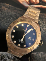 Lancaster Italy -Men's Blue Ridge-Rose-Tone- Black Dial Watch -OLA1062-Bracelet Choice Invicta Style - Realforlesscorp