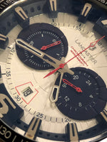 Lancaster Italy Men's Hurricane Chronograph Ss Silver-Tone Dial Navy Blue Accents Watch - LANCASTER-OLA1063MB-SS-BL - Realforlesscorp