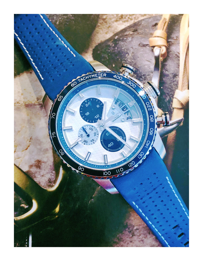 Lancaster Italy Men's Freedom Chronograph Blue Genuine Leather White Dial Watch - LANCASTER-OLA1064L-SS-BN-BL - Realforlesscorp