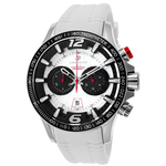 Lancaster Italy Hurricane Chronograph White Silicone Silver Watch - Realforlesscorp