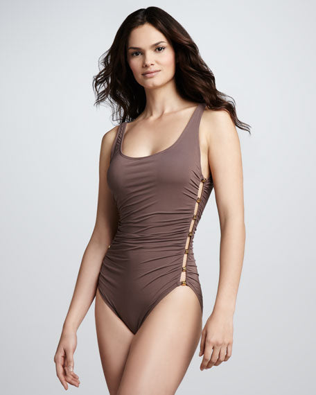 Carmen Marc Valvo Ruched Side-Stud One-Piece - Realforlesscorp