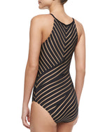 Carmen Marc Valvo Spirit of Travel Shadow-Striped Maillot Swimsuit - Realforlesscorp