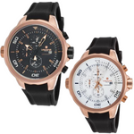 Lancaster Italy-Men's-Space Shuttle-Chronograph Black Silicone Dial Rose-Tone - LANCASTER-OLA1065 Choice of Dial Color Invicta Style - Realforlesscorp