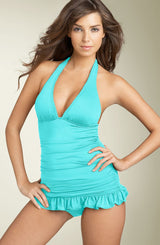 JUICY COUTURE BEACH Shirred Halter One-Piece Swimdress - Realforlesscorp