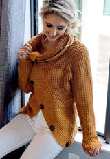 Brooke Wrap Turtleneck Knitted Wrap Sweater - Realforlesscorp