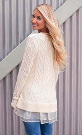 Cableknit Laced Sweater - Realforlesscorp