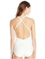 Carmen Marc Valvo Women's High Neck One Piece Swimsuit with Cross Back Detail - Realforlesscorp