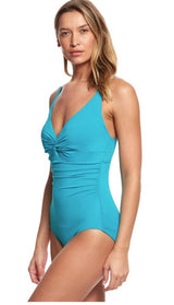 Coco Reef Contours Keepsake Sapphire Twist One Piece Swimsuit (B/C Cup) - Realforlesscorp