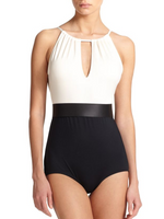 Carmen Marc Valvo One-Piece High-Neck Pleated Swimsuit - Realforlesscorp