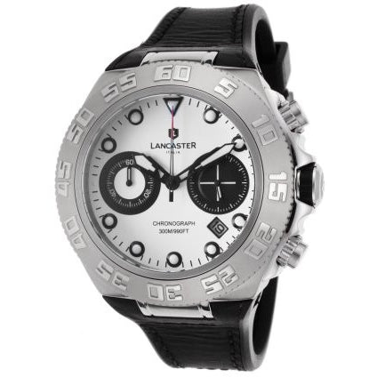Lancaster Italy Men's Blue Ridge Chronograph Black Silicone & Subdials White Dial Ss Watch - LANCASTER-OLA1061L-SS-BNNR-NR - Realforlesscorp