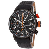 Lancaster Italy Men's Admiral Chronograph Black Genuine Leather & Dial Orange Accents Watch - LANCASTER-OLA1067L-BK-NR-AR-NR - Realforlesscorp