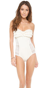 Juicy Couture Prima Donna Ruffle Bandeau Maillot One Piece Swimsuit | - Realforlesscorp
