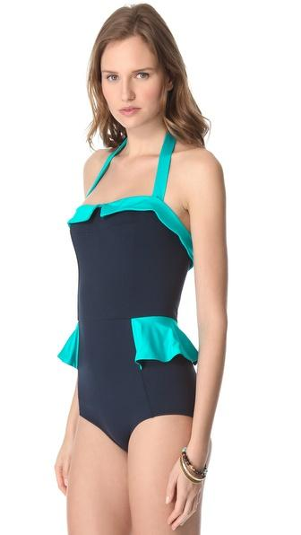 Marc by Marc Jacobs Colorblock Peplum One Piece Swimsuit - Realforlesscorp