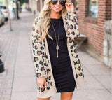 Ladies Autumn Long Knitted Leopard Cardigan - Realforlesscorp