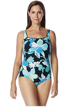 Chlorine Resistant Roxanne D-Cup Garden City Square Neck One Piece Swimsuit - Realforlesscorp