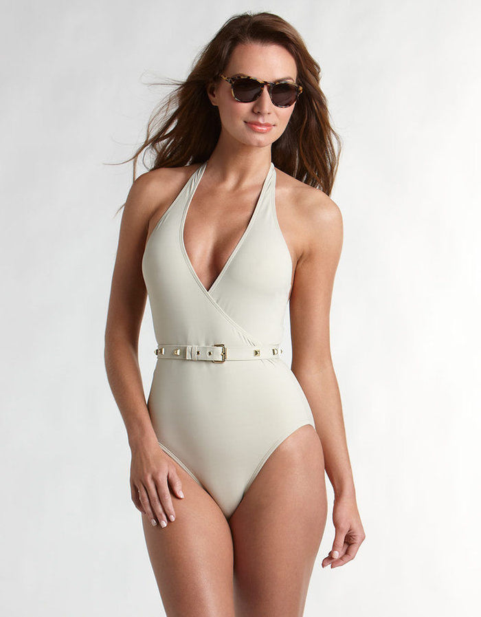 Vince Camuto Safa Khaki Surplice Belted Maillot Swim Bathing Suit 6 - Realforlesscorp