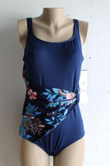 Roxanne Bra Sized Swimsuit Navy Blue Floral Sash Plus size - Realforlesscorp