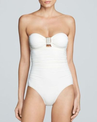 CARMEN MARC VALVO BANDEAU EXOTIC ILLUSION ONE PIECE SWIMSUIT - Realforlesscorp