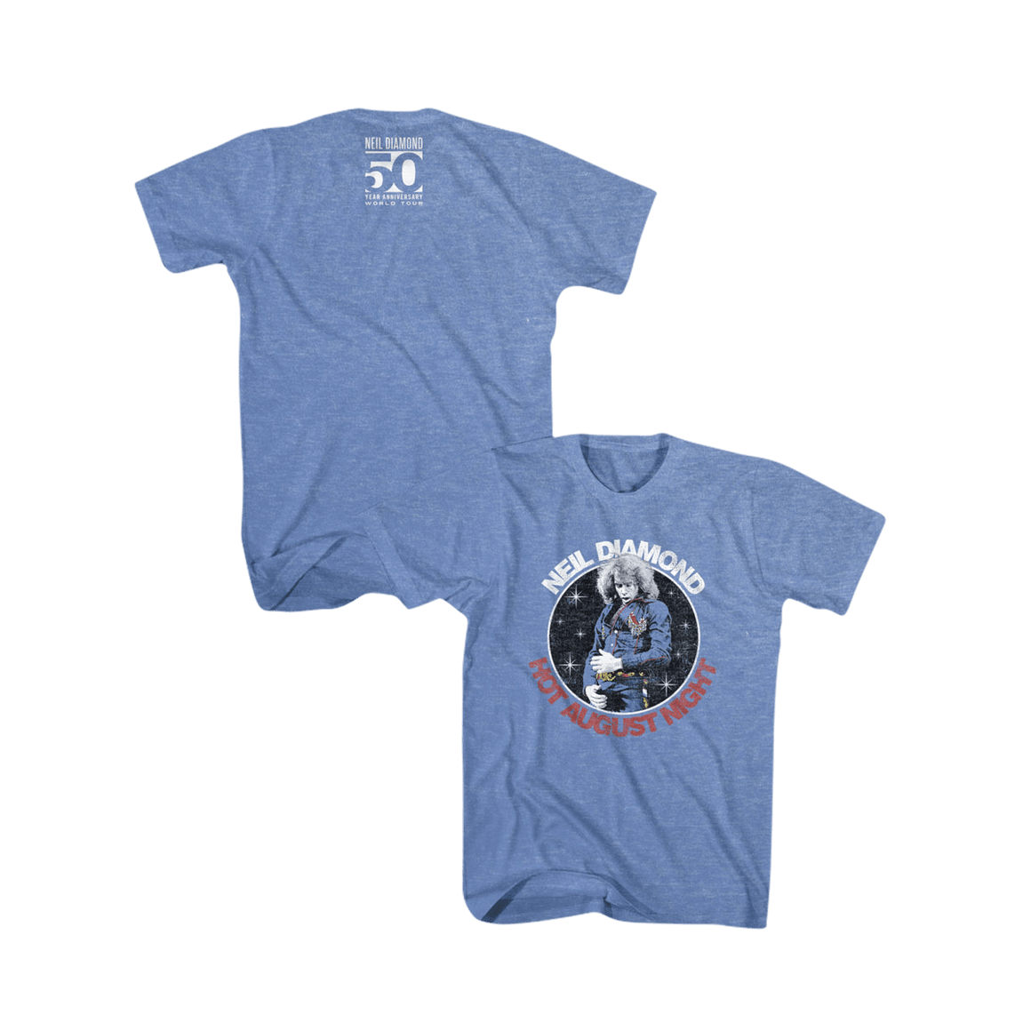 Hot August Night Tee (Heather Blue) - Neil Diamond